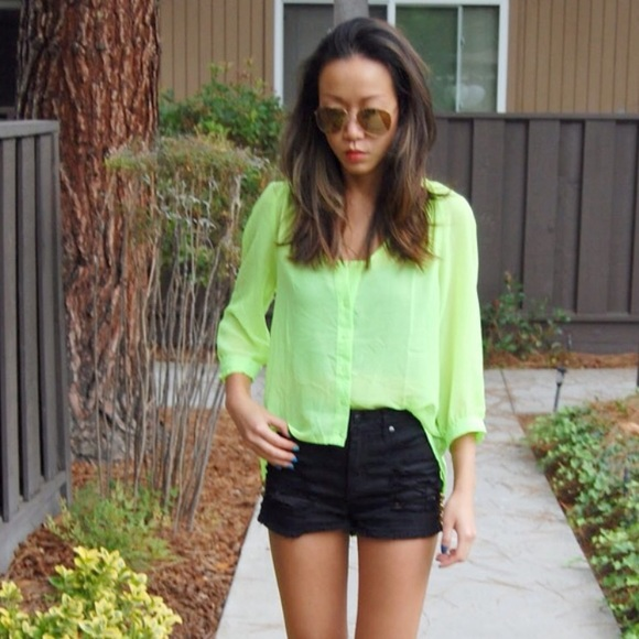 Urban Outfitters Tops - *Like NEW* sparkle & fade neon chiffon top