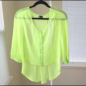 *Like NEW* sparkle & fade neon chiffon top
