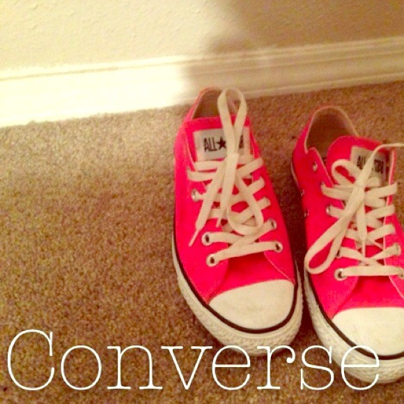 Converse Shoes - Neon Pink Converse Low Tops.