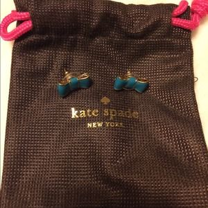 Kate Spade teal bow earrings