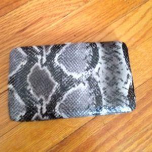 Faux snake skin clutch