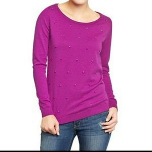 《BUNDLED》 Posh Purple Neon Embellished sweater