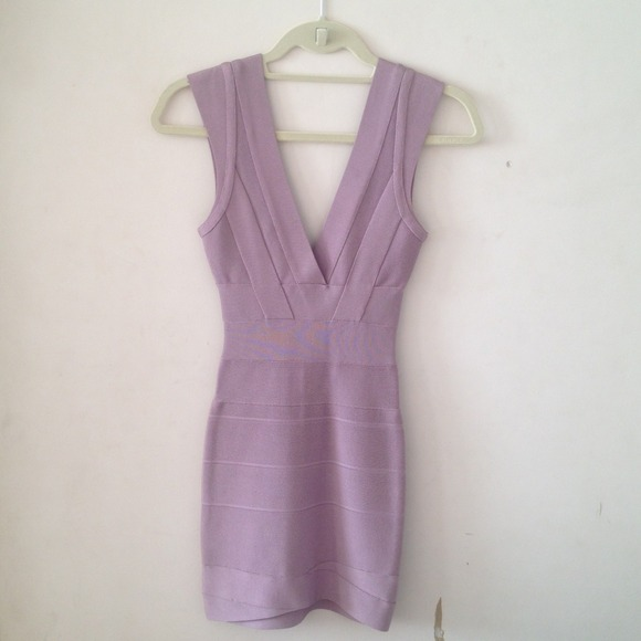Herve Leger Dresses & Skirts - Herve Leger V-Neck Lilac Bandage Dress