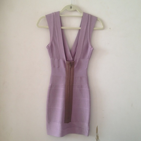 Herve Leger Dresses & Skirts - Herve Leger V-Neck Lilac Bandage Dress 2