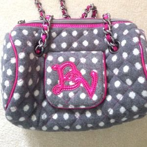 Grey with white dot handbag with hot pink accents
