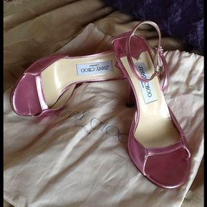 JIMMY CHOO Pink Metallic sandal heels💕💕💕