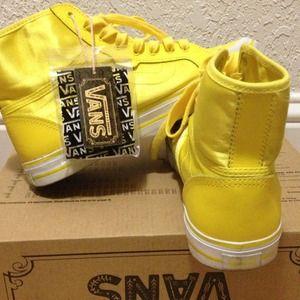 Yellow Silk Vans Hi Top Sneakers | Poshmark