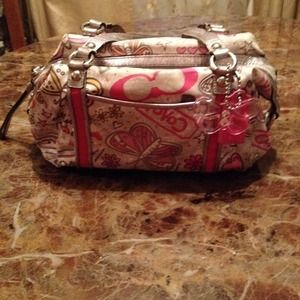 Coach Handbags - #9- Authentic Silver and Pink Butterfly Coach Bag