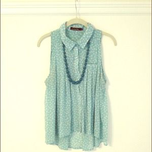 Sky blue and white polka dot sleeveless top