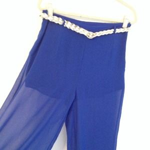 Electric Blue Sheer Wide Leg Pants