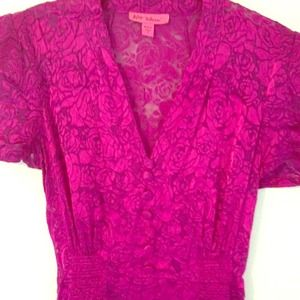 Betsey Johnson Magenta Silk Rose Dress