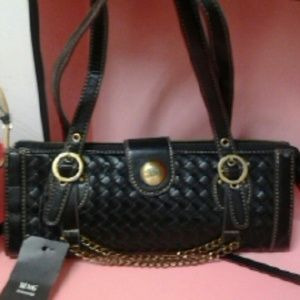 MNG BY MANGO WOVEN BLACK SMALL CHAIN PURSE