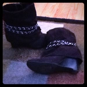 Ankle high black swede booties!