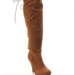 Segolene Paris Boots - Brown over the knee lace up boots
