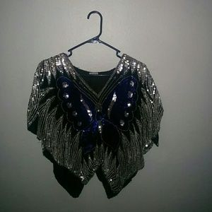 Vintage 100% silk butterfly sequined blouse