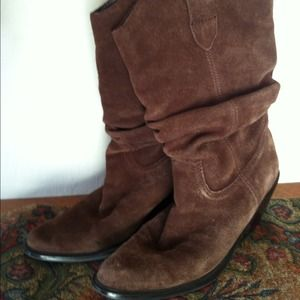 Boots - Cowboy style Brown suede slouchy boots size 7