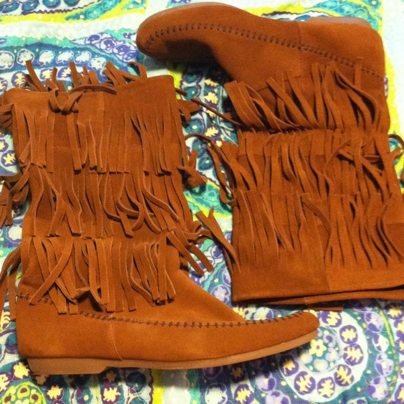 Camel fringe boots 10 from Lauren's closet on Poshmark