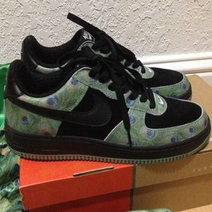 Nike Shoes 8w Or 65y Peacock Print Air Force Ones Poshmark
