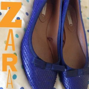 ZARA blue textured flats sz38 great soles!