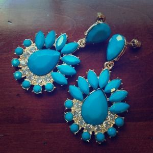 Jewelry - Ocean Blue Sunburst Chandelier Earrings