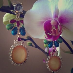 Jewelry - Peach Feminine Jeweled Dangle Earrings