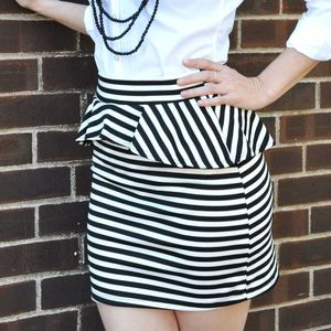 Dresses & Skirts - *HOST PICK* Striped Peplum Mini Skirt