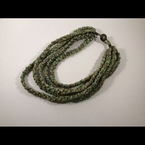 Unique hand woven green necklace