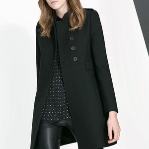 Zara double breasted twill coat