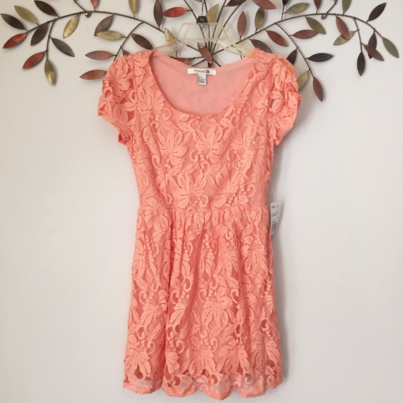 Coral color dress forever 21