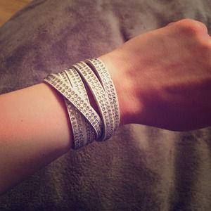 White Leather Rhinestone Wrap Bracelet