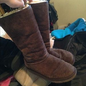brown tall suede ugg boots