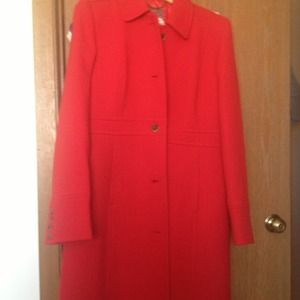 Red J crew double cloth coat.
