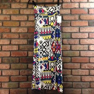 B Envied Dresses & Skirts - Multicolored Geometric Print Maxi Skirt