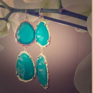 Jewelry - Teal Double Drop Earrings