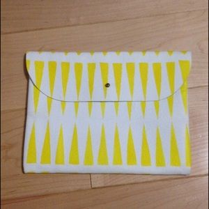 Yellow white handmade illustrated leather pouch