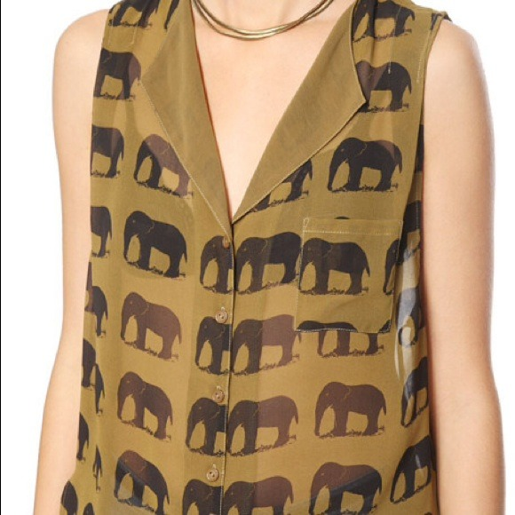 Forever 21 Tops - F21 Safari Elephant Shirt/bracelet/necklace