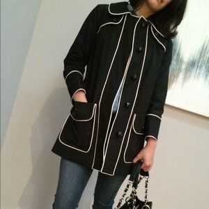 Marc by Marc Jacobs Outerwear - Marc by Marc Jacobs black and white trench coat