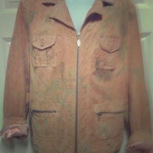 Suede vintage bomber jacket