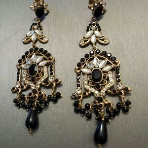 chandelier earrings antique gold black os from naz posh