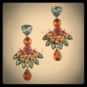 Reduced J. Crew JEWELED FAN DROP EARRINGS