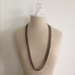 J. Crew Jewelry - J.Crew mesh necklace with faux pearl fringe