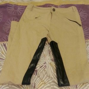 Stretch leather tan pants
