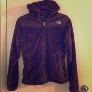 Brown fuzzy North Face Fleece Jacket