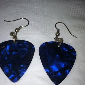 Jewelry - Pearlescent Blue Guitar Pick Earrings.