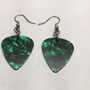 Jewelry - Pearlescent Green guitar pick earrings.
