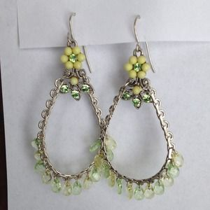 Dangle yellow and green earrings