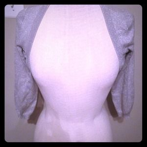 Express silver silk blend cropped cardigan