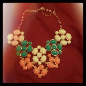 Turquoise, white, and coral statement necklace