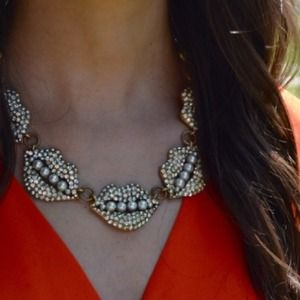 Crystal and Pearl Statement Necklace