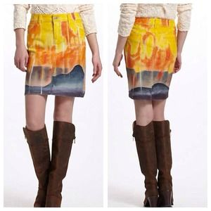 Anthro summer sun painted denim skirt
